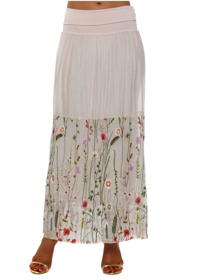 J&L Paris Baby Pink Floral Embroidered Silk Maxi Skirt