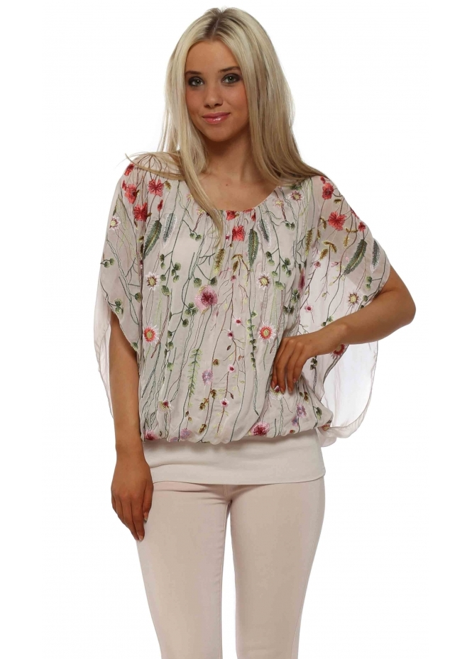 J&L Paris Baby Pink Floral Embroidered Silk Blouse