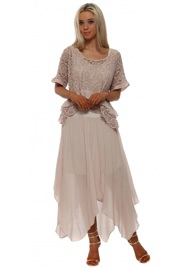 French Boutique Dusky Pink Lace Top Handkerchief Maxi Dress