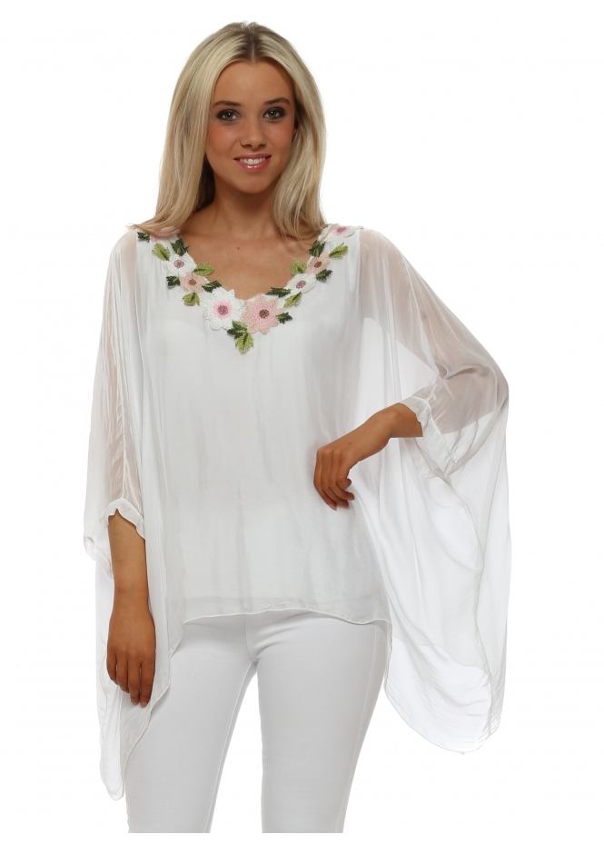 Made In Italy White Floral Neckline Silk Batwing Top