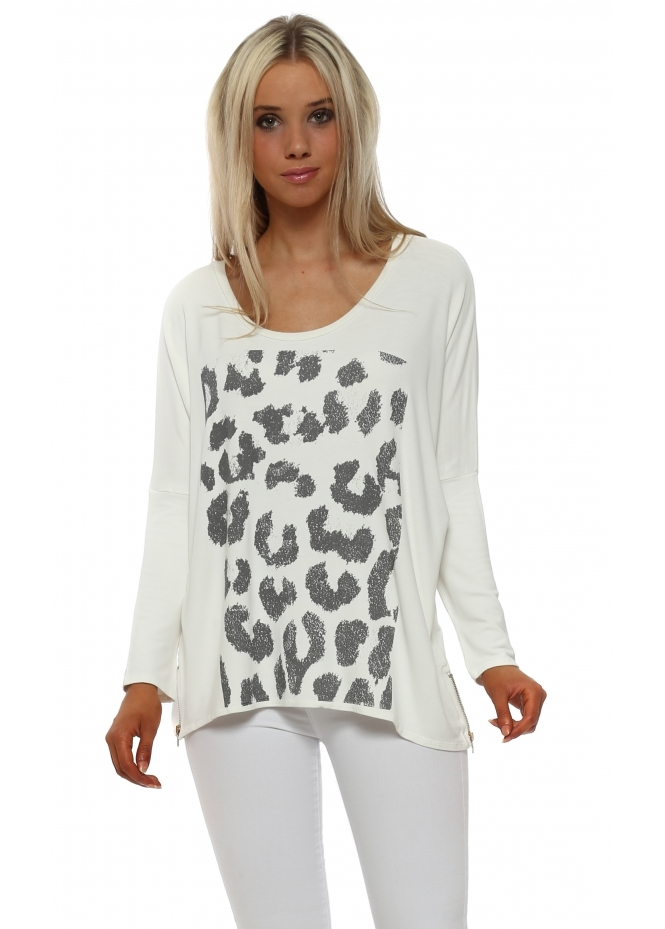 A Postcard From Brighton Zippy Animal Print Sweater In Vanilla