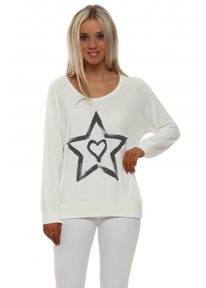 A Postcard From Brighton Raglan Zippy Starry Heart Sweatshirt In Vanilla