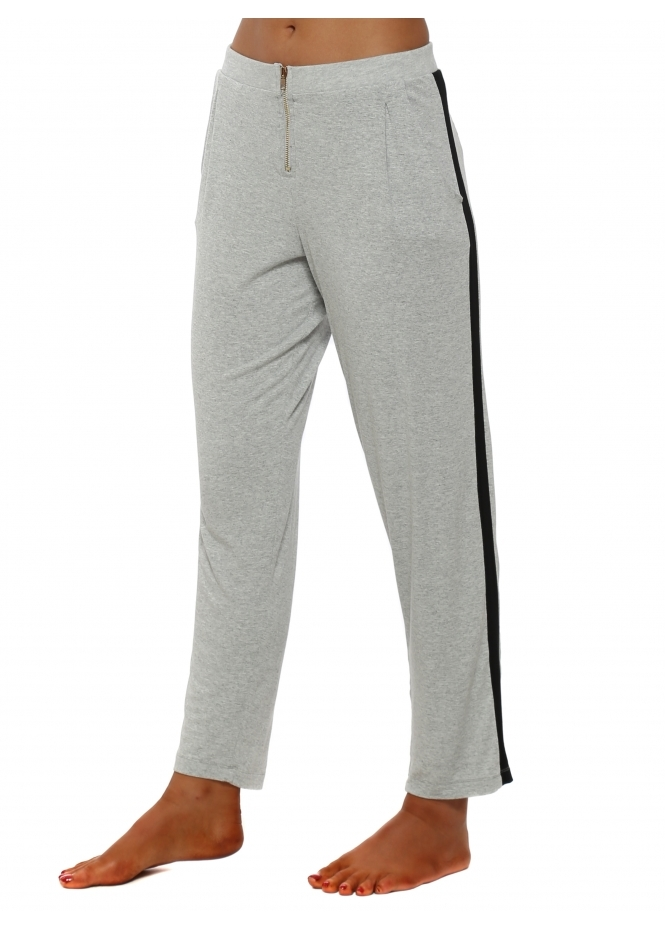 A Postcard From Brighton Vanilla Melange Contrast Zippy Lounge Pants