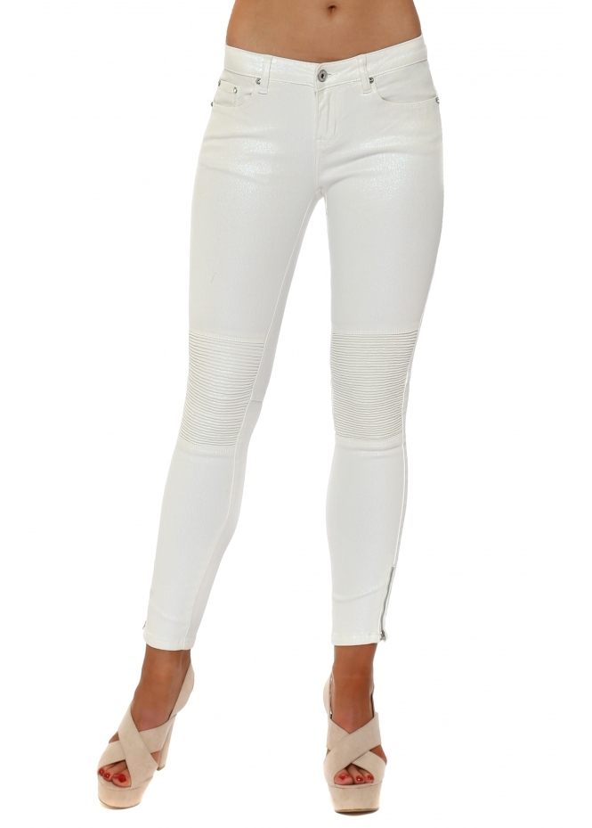 Toxik 3 White Pearlescent Ribbed Knee Cropped Stretch Jeans