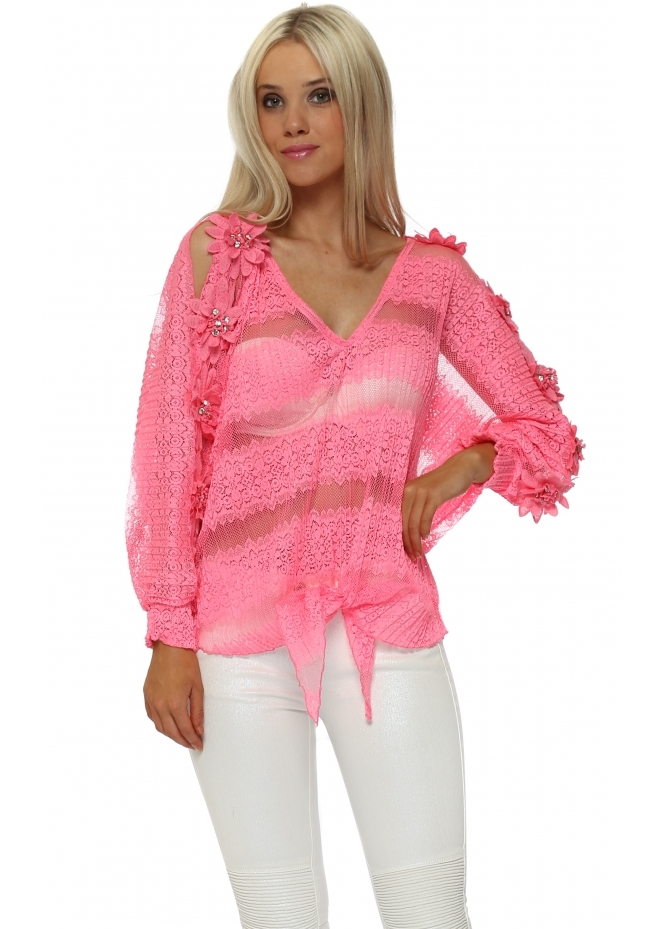 Laurie & Joe Hot Pink Floral Diamante Tie Top