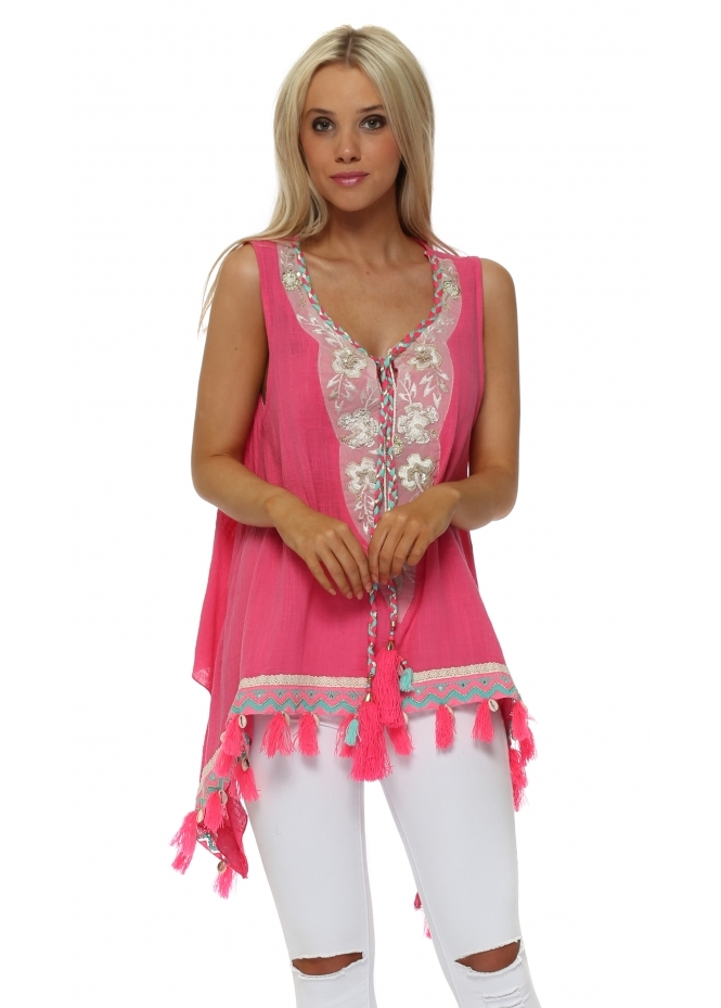 Laurie & Joe Hot Pink Sequinned Braid Tassel Top
