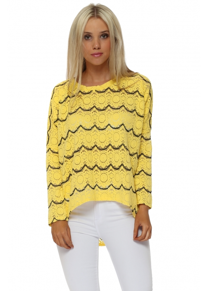 A Postcard From Brighton Monica Medallion Lace Canary Long Sleeve Lace Top