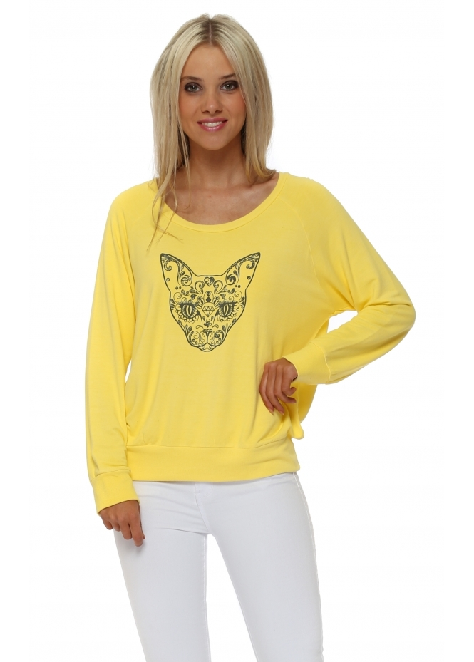 A Postcard From Brighton Raglan Karma Kat Sweatshirt In Canary