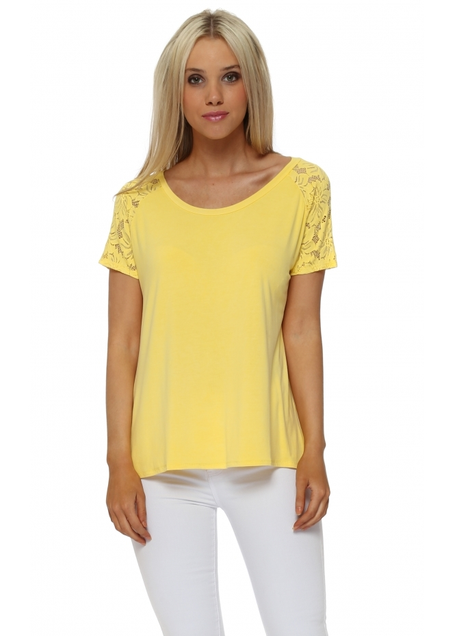 A Postcard From Brighton Carrie Lace Cap Sleeve Top In Canary
