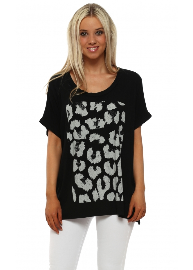 A Postcard From Brighton Leopard Print Black Tunic Tee