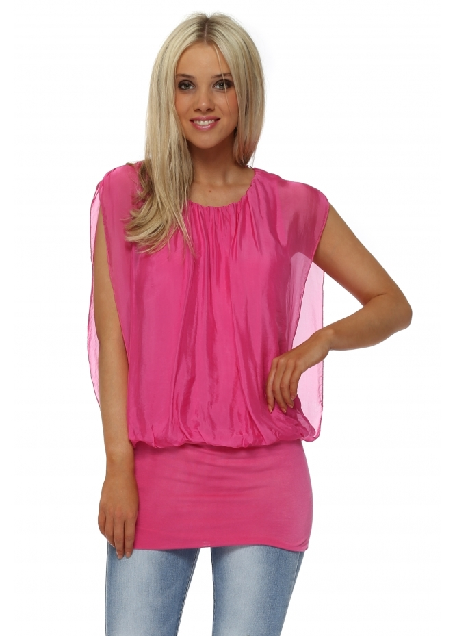 Italian Boutique Hot Pink Silk Sleeveless Bandeau Hem Top