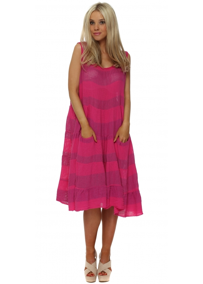 Italian Boutique Hot Pink Cotton Pockets Casual Summer Dress