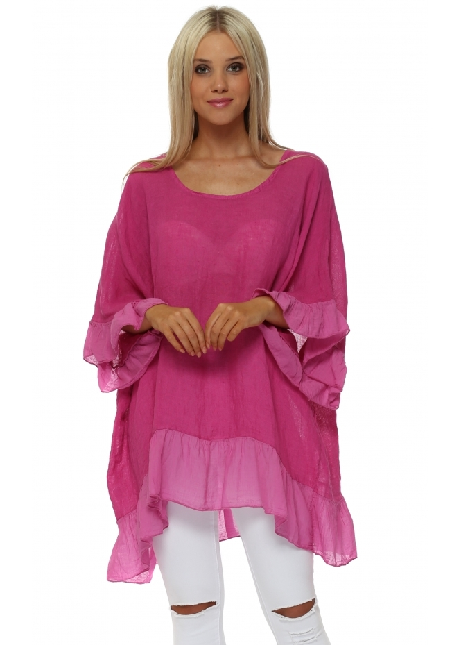 Sugar Babe Hot Pink Linen Frilly Oversized Top