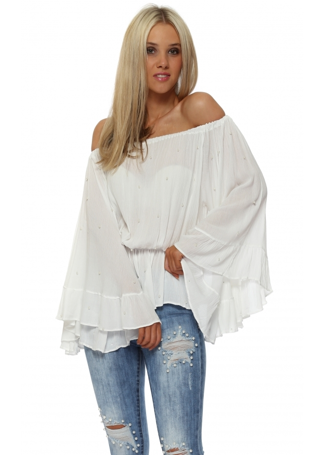 French Boutique Pearl Embellished White Off The Shoulder Top