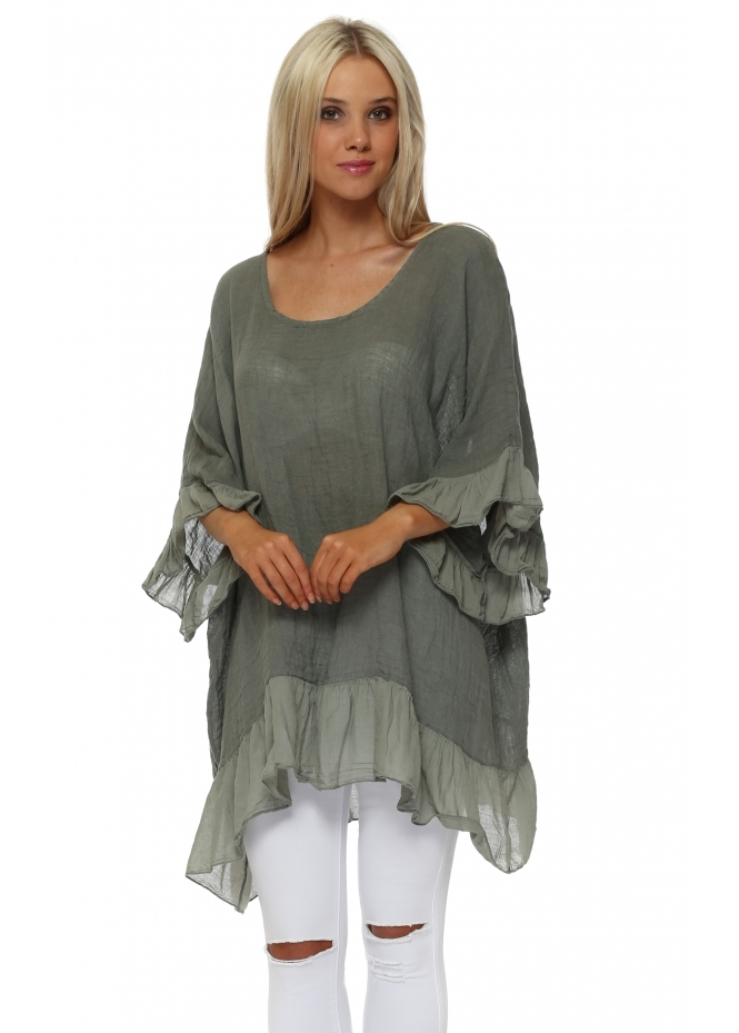 Sugar Babe Khaki Linen Frilly Oversized Top