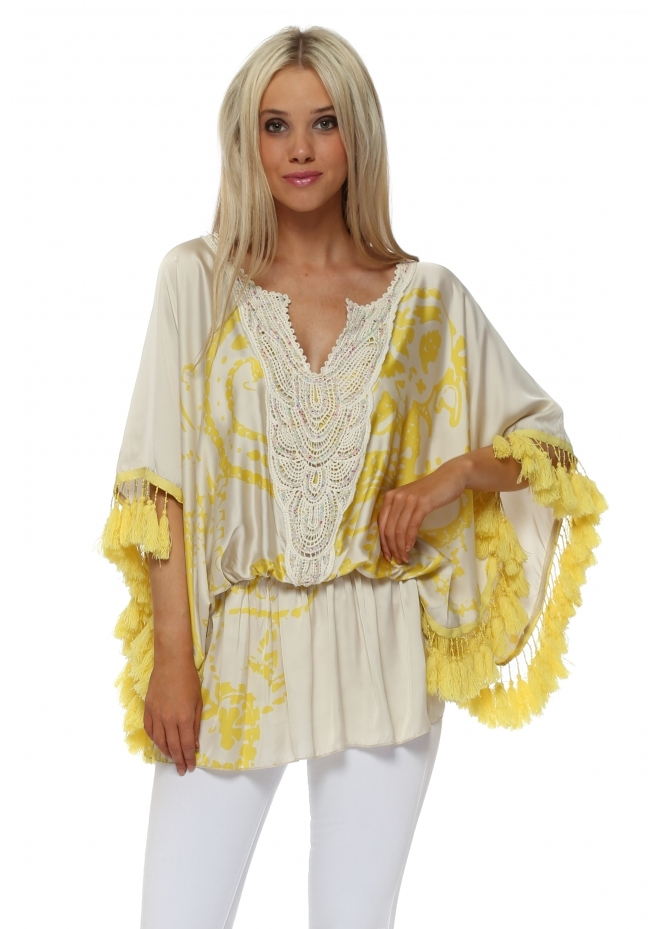 Laurie & Joe Yellow Satin Santorini Tassel Kaftan