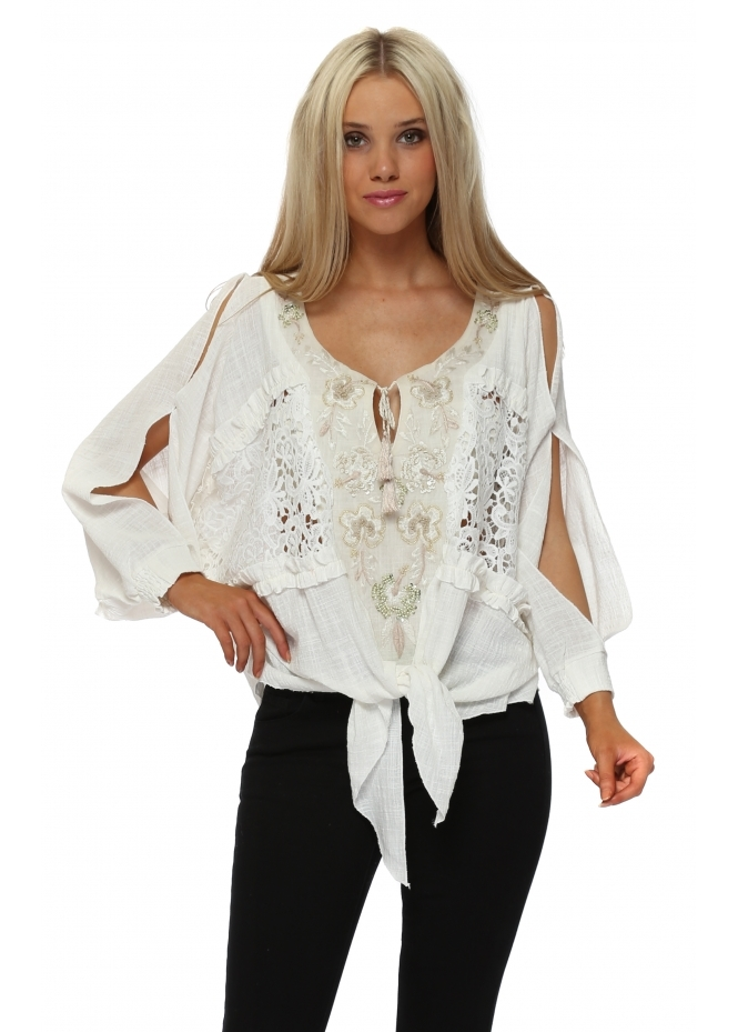 Laurie & Joe Cream Embroidered Tie Top