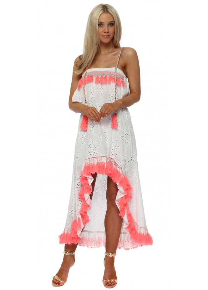 Monaco White Broderie Anglaise Coral Tassle Hi Lo Dress
