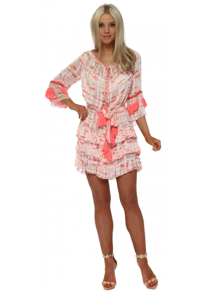 Laurie & Joe Coral Tie Dye Chiffon Ruffle Tassel Dress
