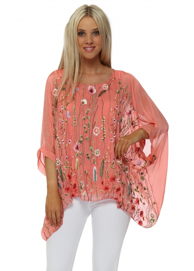 Made In Italy Coral Floral Embroidered Silk Batwing Top