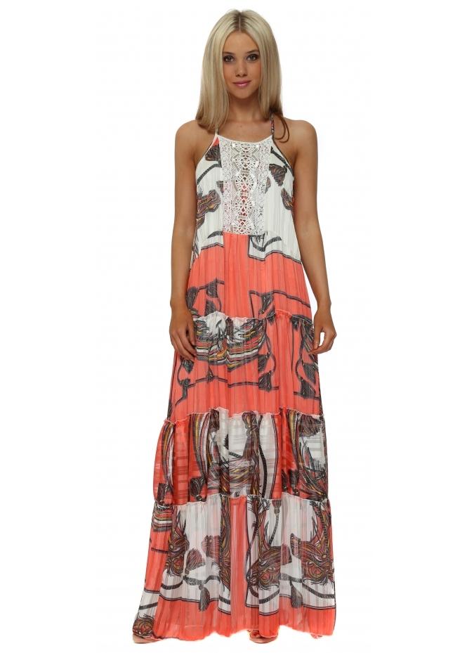 My Story Coral Scarf Print Chiffon Maxi Dress