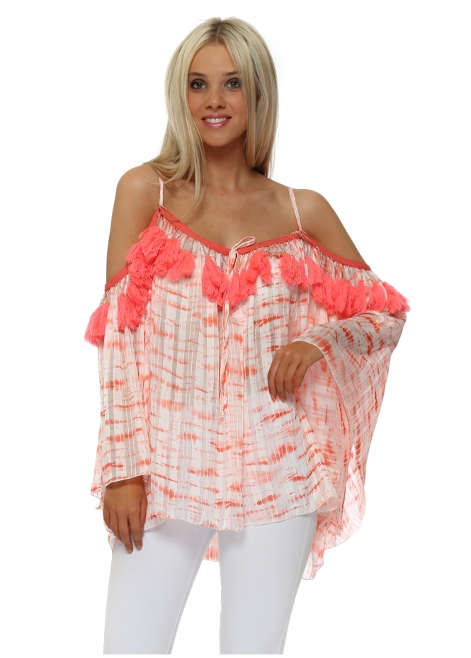 Laurie & Joe Coral Chiffon Tie Dye Tassle Cold Shoulder Top