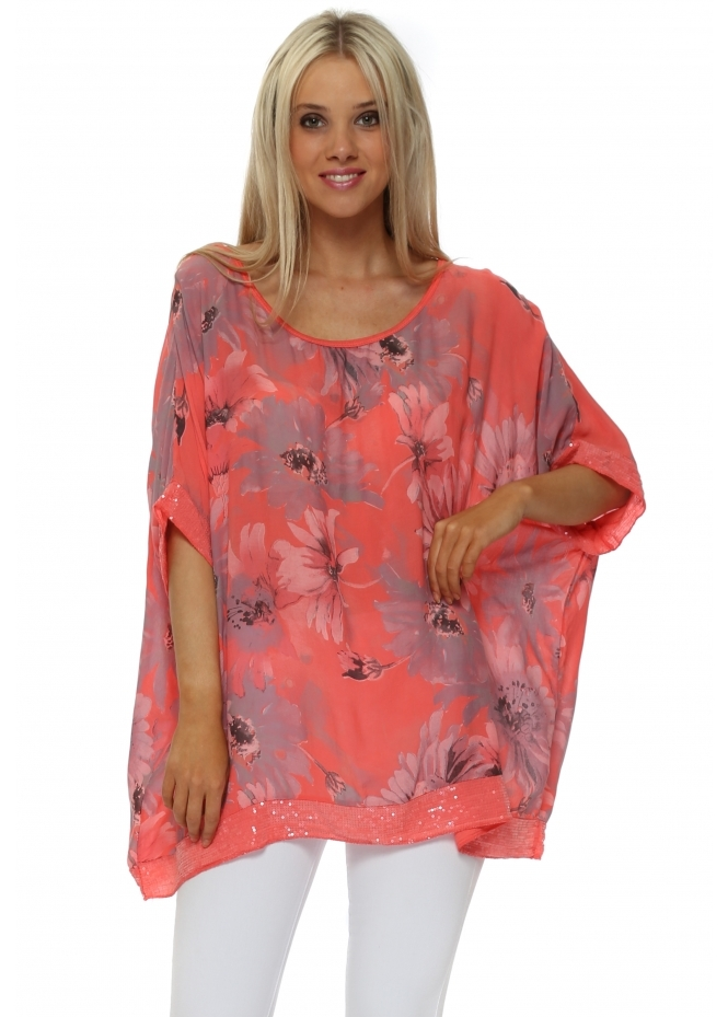 Made In Italy Coral Floral Loose Fit Sequinned Top
