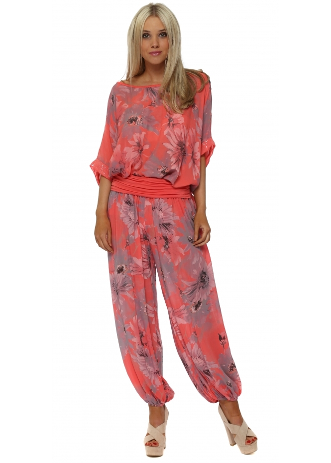 Italian Boutique Coral Floral Harem Lounge Set
