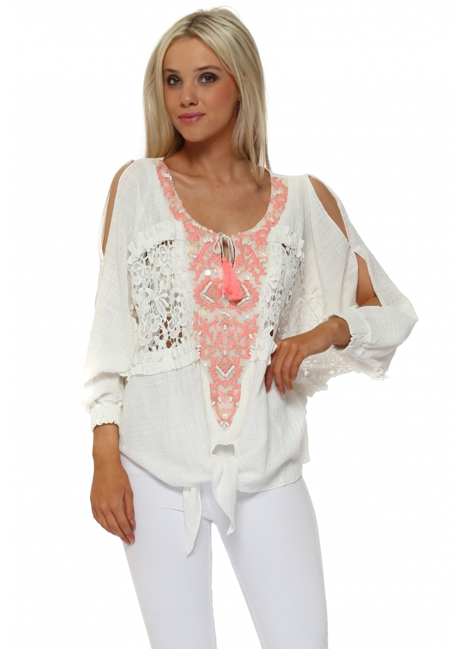 Laurie & Joe Cream Neon Coral Embroidered Tie Top