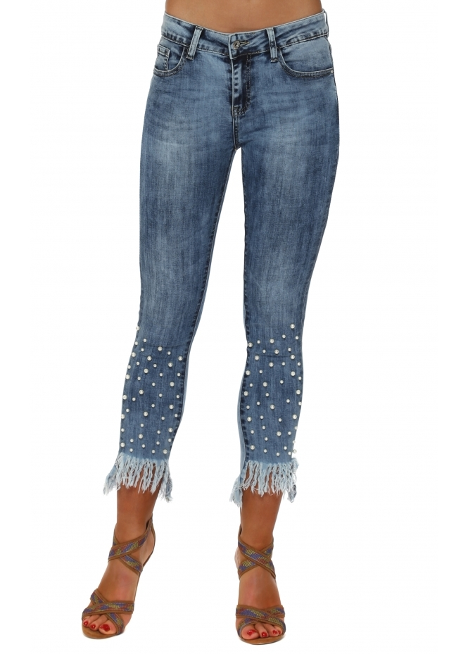 Redial Blue Stretch Fit Distressed Frayed Pearl Ankle Jeans