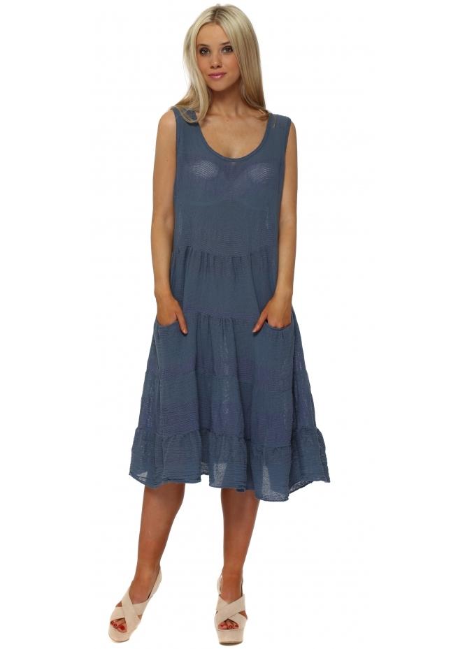Italian Boutique Dark Blue Cotton Pockets Casual Summer Dress