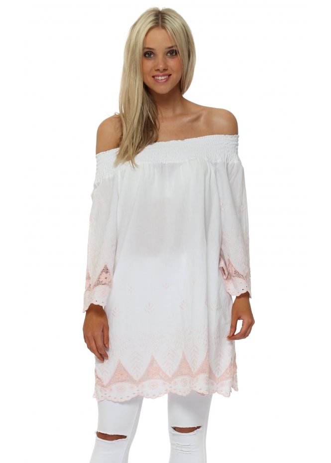 Made In Italy White Cotton Pink Embroidered Bardot Top