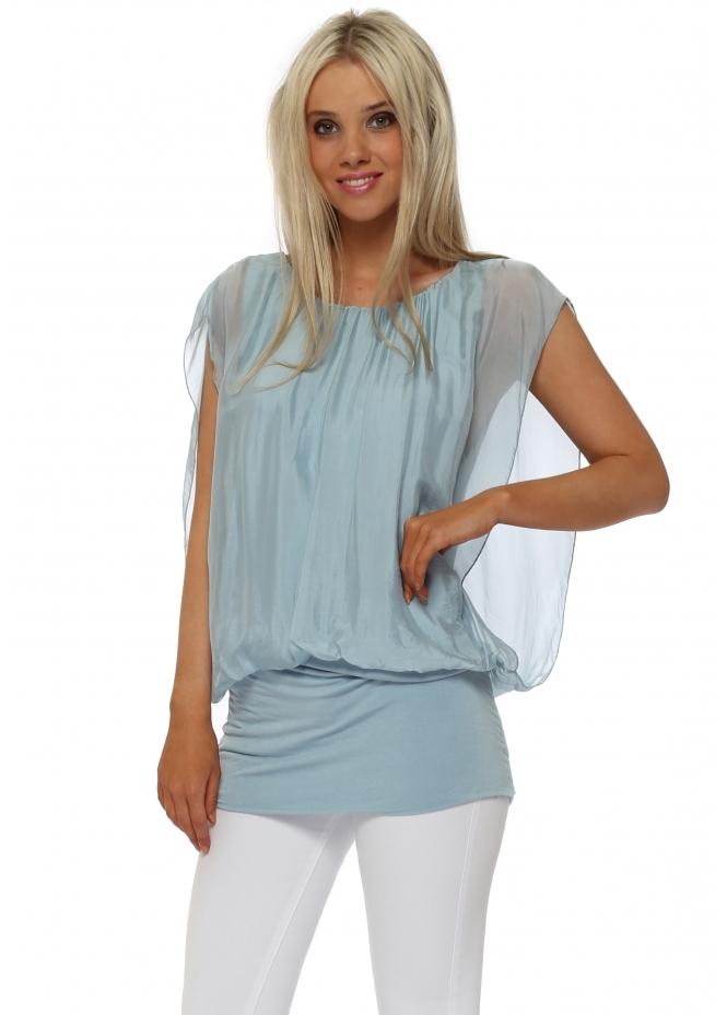 Italian Boutique Baby Blue Silk Sleeveless Bandeau Hem Top