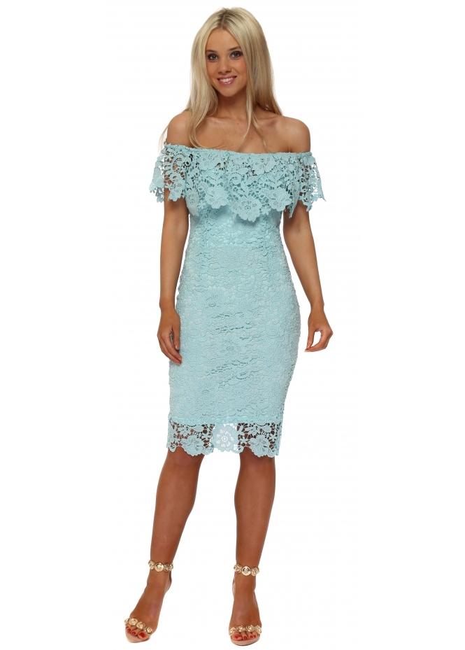 Paper Dolls Mint Crochet Lace Bardot Frill Pencil Dress