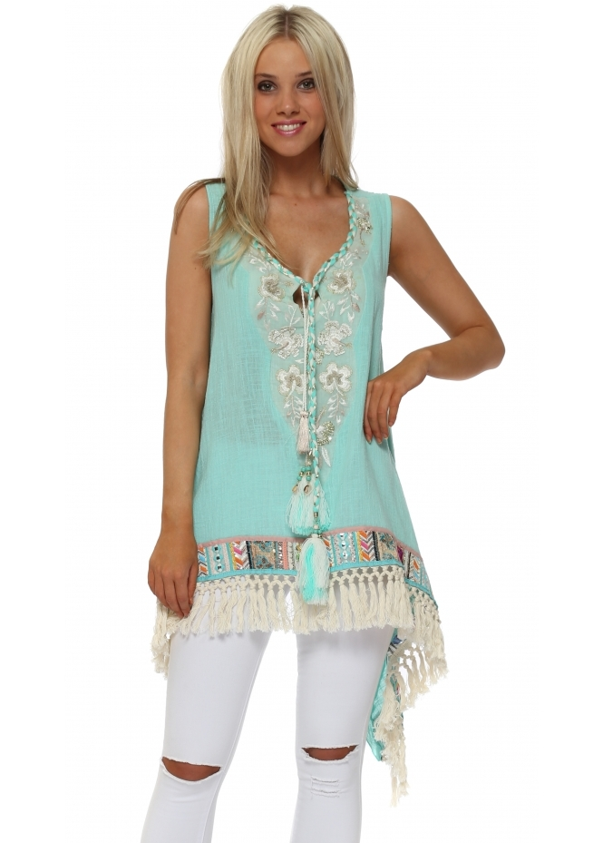 Laurie & Joe Turquoise Sequinned Braid Tunic Top