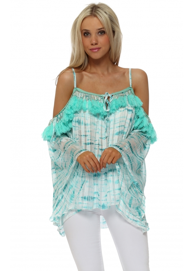 Laurie & Joe Aqua Chiffon Tie Dye Tassle Cold Shoulder Top