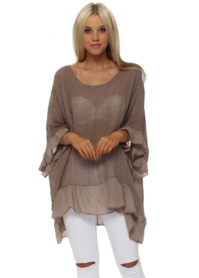 Sugar Babe Taupe Linen Frilly Oversized Top