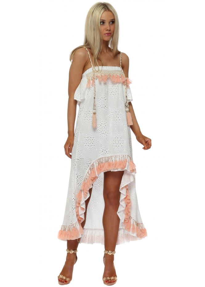 Monaco White Broderie Anglaise Peach Tassle Hi Lo Dress