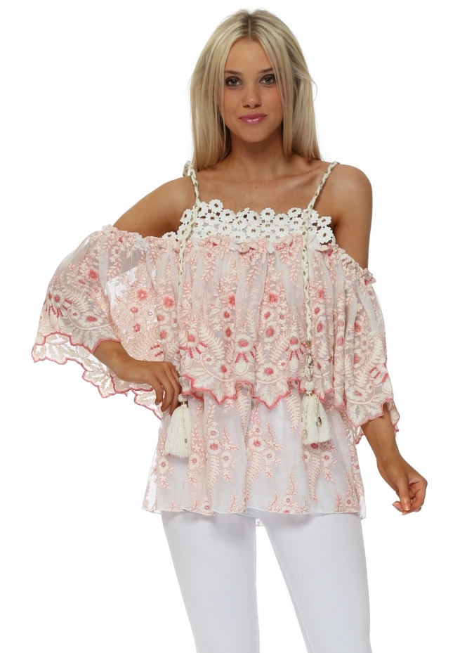 Monaco Pink Floral Cold Shoulder Top