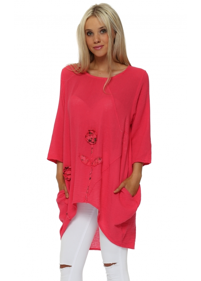 Italian Boutique Raspberry Rose Detail Dip Sides Tunic Top