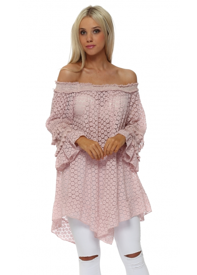 Italian Boutique Pink Crochet Tassle Bardot Tunic Top