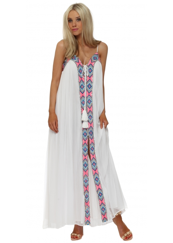 Diamond For Eden Flowing White Embellished Maxi Dress