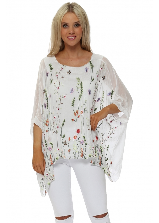 Made In Italy White Floral Embroidered Silk Batwing Top
