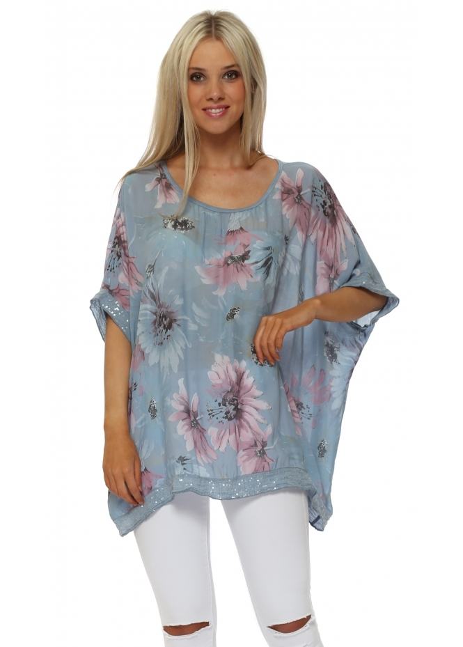 Made In Italy Light Blue Floral Loose Fit Sequinned Top