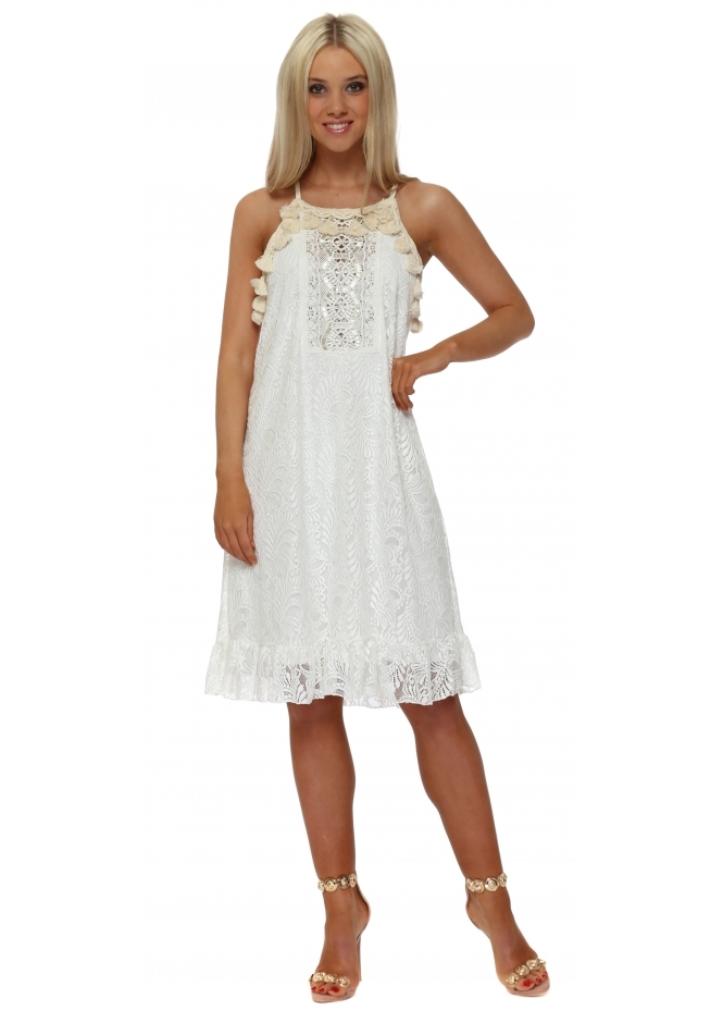 My Story White Lace Tassle Midi Dress