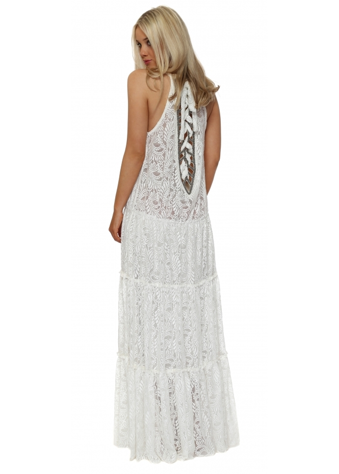 My Story White Lace Corset Beaded Tie Back Maxi Dress
