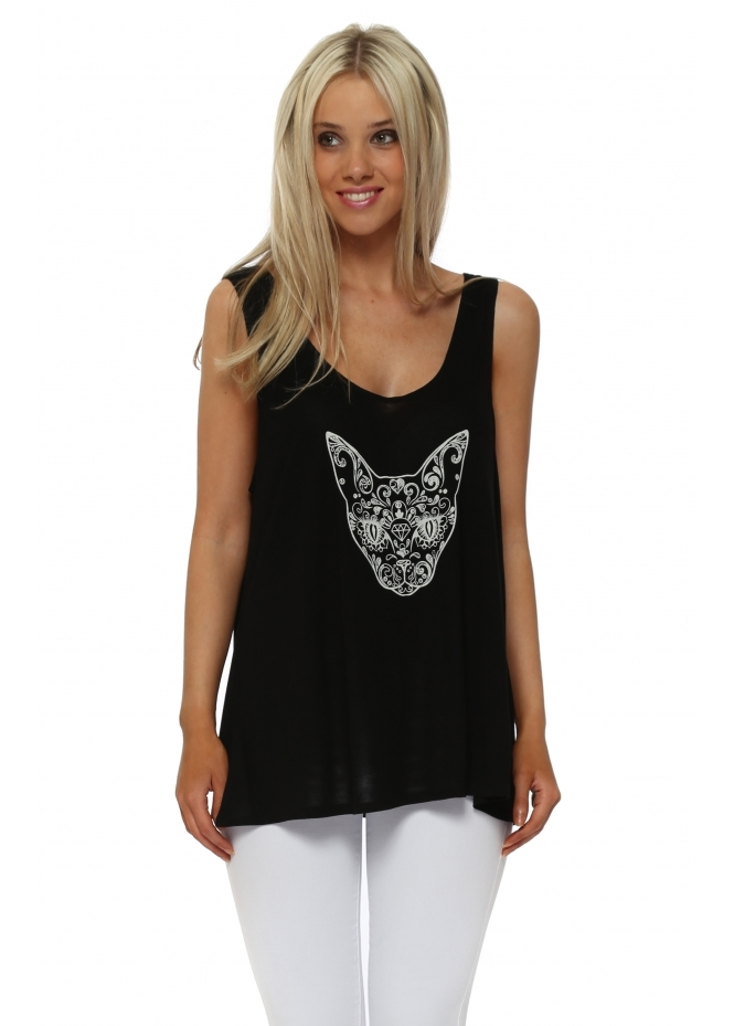 A Postcard From Brighton Yoga Black Karma Kitten Baggy Vest