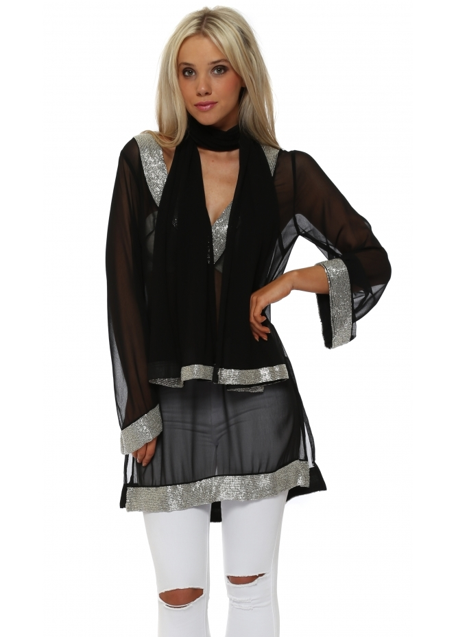 Faust Black Sequinned Kaftan With Shawl
