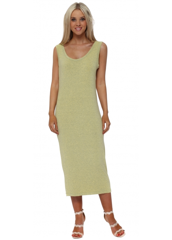 A Postcard From Brighton Nancy Canary Melange Jersey Midi Dress