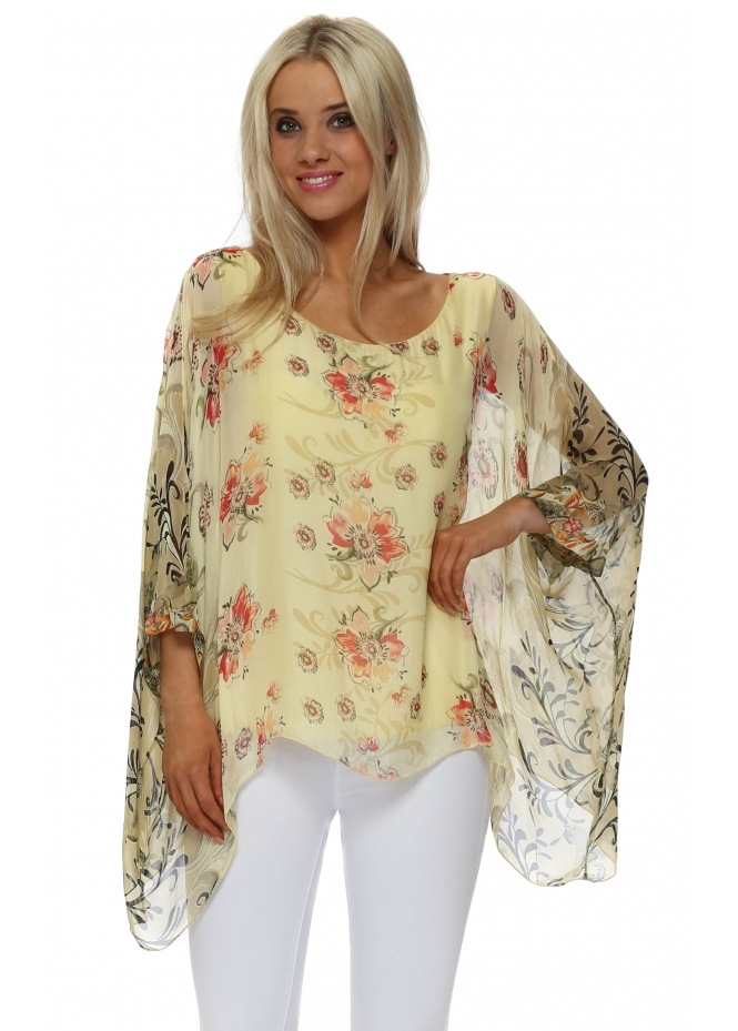 Made In Italy Yellow Silk Floral Filigree Floaty Top